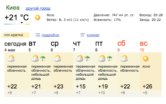 Yandex weather block