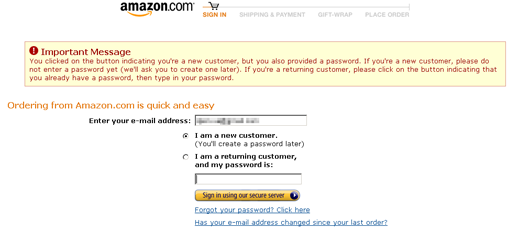 amazon login issue